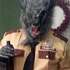 Johnny Barrett as WolfCop for Halloween